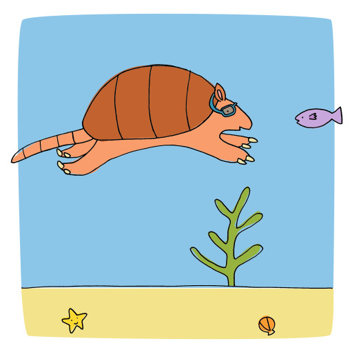 Swimming armadillo